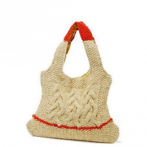 Natur-rote Handtasche aus Wolle & Recycling Material