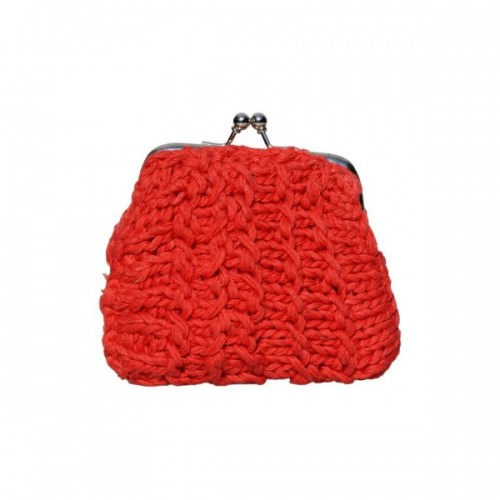 Upcycling Geldbörse aus roter Baumwolle