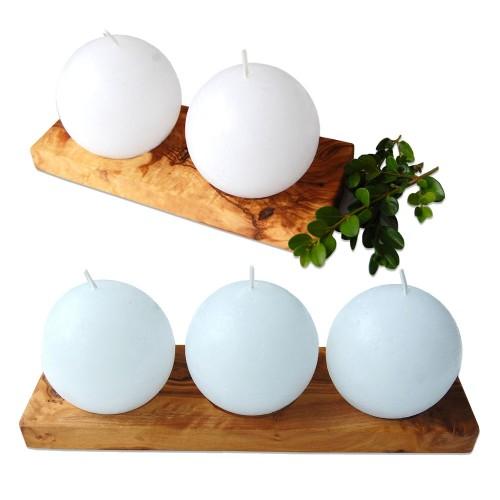 Kerzenhalter aus Olivenholz mit Kugelkerzen | Olivenholz erleben