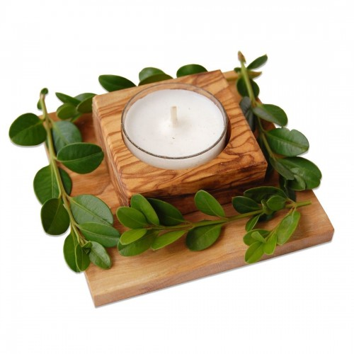 Dekorativer Olivenholz Teelichthalter COFINA | Olivenholz erleben