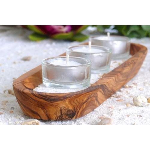 Wellness Olivenholz Teelichthalter inkl. Teelichter | Olivenholz erleben