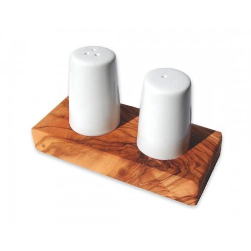 Salz- und Pfefferstreuer aus Keramik auf Olivenholz Sockel | Olivenholz erleben