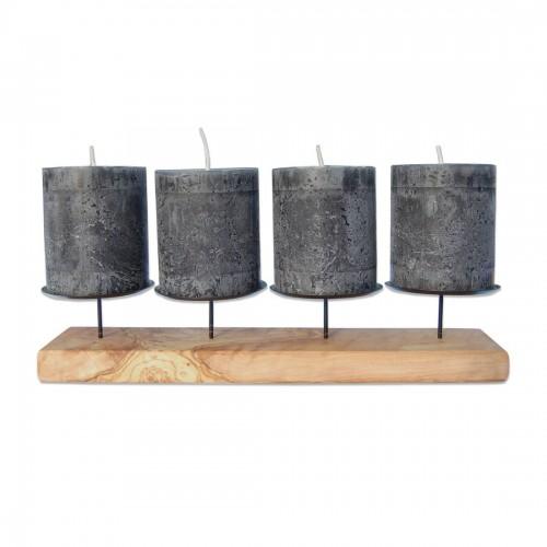 Öko Olivenholz Kerzenständer Advent Modern | D.O.M.