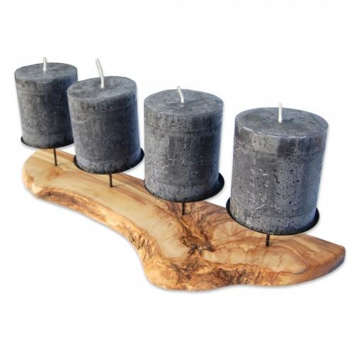 Olivenholz Kerzenständer Advent rustikal | Olivenholz erleben