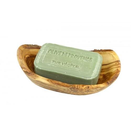 Rustikale Olivenholz Seifenschale inkl. Naturseife Olive | Olivenholz erleben