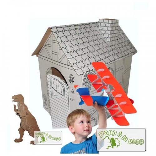Bastel-Set aus Pappe: Spielhaus, Flugzeug & Dino