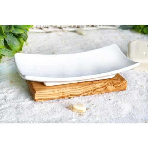 Porzellan Seifenschale auf Olivenholzfuß | Olivenholz erleben