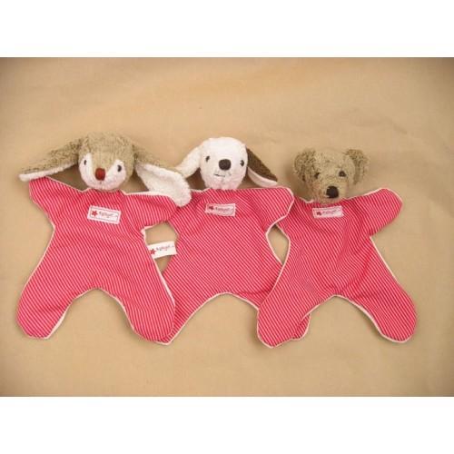 Schmusetuch Hase, Hund, Bär Das Schmusetuch von Kallisto trägt ein niedliches gestreiftes Kleid aus Bio-Baumwolle und gibt es wahlweise als Hase, Hund oder Bär. Bio-Baumwolle