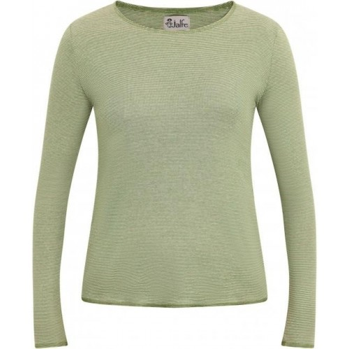 Grün fein gestreiftes Bio Damen Langarmshirt | Jalfe