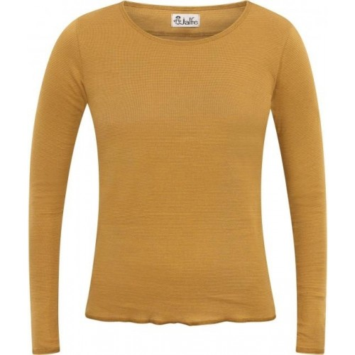 Curry-hellbraun fein gestreiftes Bio Damen Langarmshirt | Jalfe