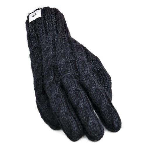 Handgestrickte Alpaka Handschuhe Milena, Einheitsgröße für Damen 100% Baby Alpaka, Schwarz