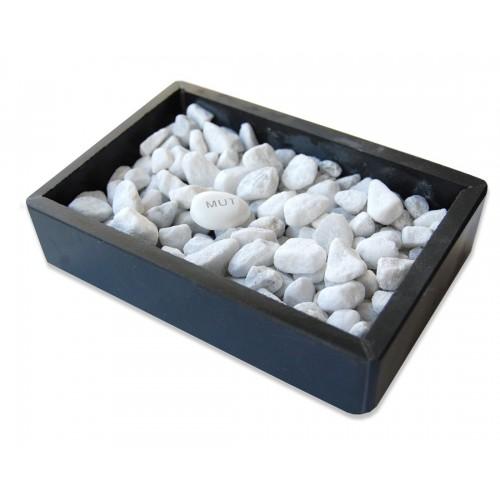 Schiefer Seifenschale Stonebase mit Glücksstein | Olivenholz erleben