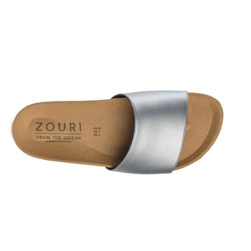 Vegane Pantolette WAVE Silber Apfelleder » Zouri