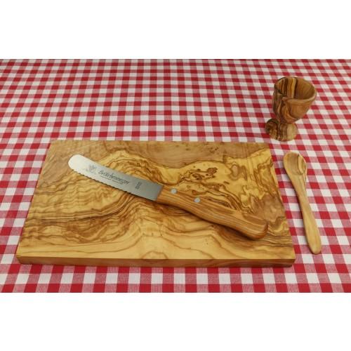 Olivenholz Frühstücksset PALMA inkl. Brötchenmesser