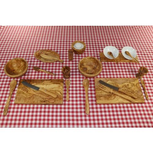 Öko Frühstücksset GRANDE aus Olivenholz für 2 Personen