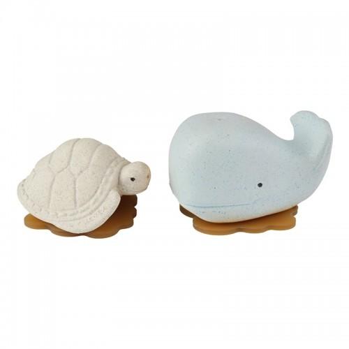 Hevea Squeeze'N'Splash upcycled Badespielzeug Wal & Schildkröte, Blizzard Blue & Vanilla