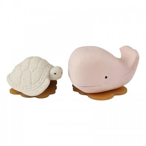 Hevea Squeeze'N'Splash upcycled Badespielzeug Wal & Schildkröte, Champagne Pink & Vanilla