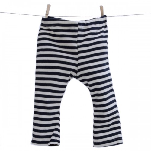 Baby Leggins Bio Baumwolle GOTS blau-gestreift | Popolino