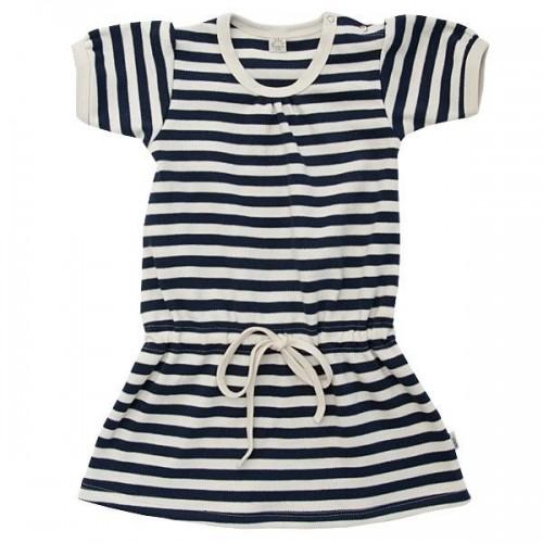 Baby Sommerkleid in Blau-Weiß aus Bio-Baumwolle | Popolino