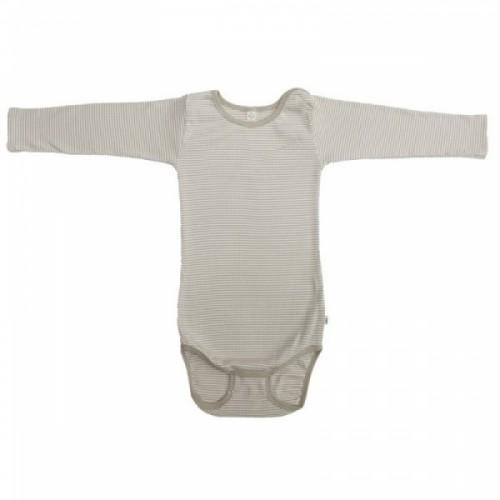 Baby Body Langarm Bio-Baumwolle sand-gestreift | iobio