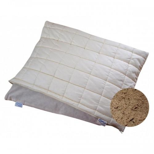 Schlafkissen mit Komfort-Stepphülle + Bio-Hirseschalen