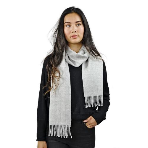 Premium 100% Baby Alpaka Schal Moskau, Uni, One Size, Unisex Schal, Hellgrau