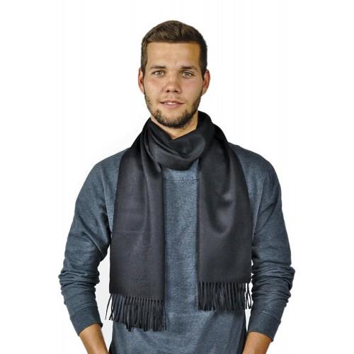 Premium 100% Baby Alpaka Herrenschal Moskau, Uni, One Size, Unisex Schal, Schwarz