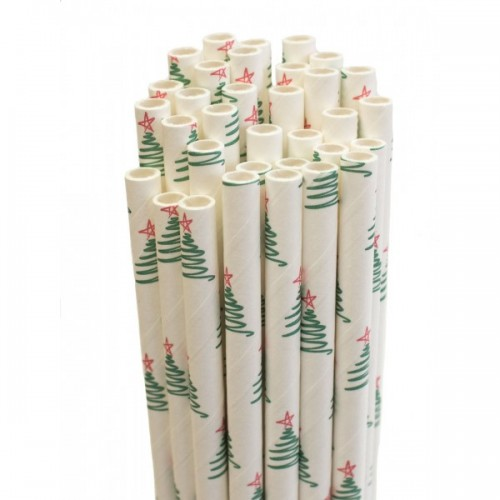 Recycelbare Papier-Trinkhalme – Weihnachtsbäume