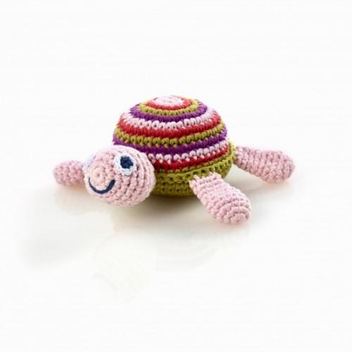 Pink Schildkröte Baby Rassel aus Baumwolle   Pebble