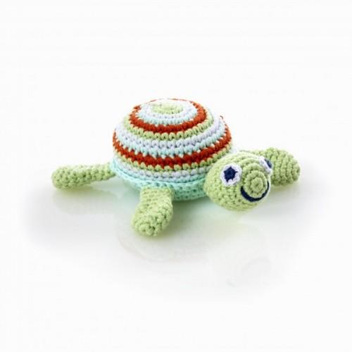 Baby Rassel – Schildkröte grün aus Baumwolle | Pebble