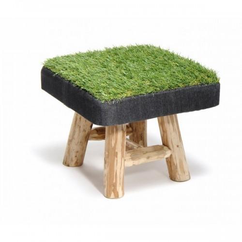 Upcycling Hocker aus Eukalyptus Holz + Gras