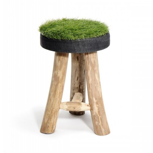 Hocker recyceltes Synthetik-Gras + Denim - L
