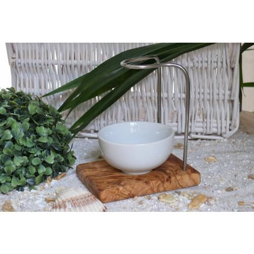 DESIGN classic Olivenholz Rasierpinselhalter mit Porzellanschale, rund | Olivenholz erleben