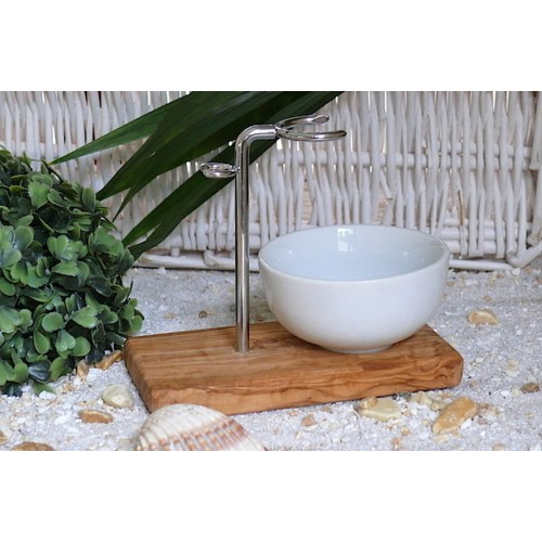 Olivenholz Ständer KLASSIK für Rasierer & Rasierpinsel mit Porzellanschale | Olivenholz erleben