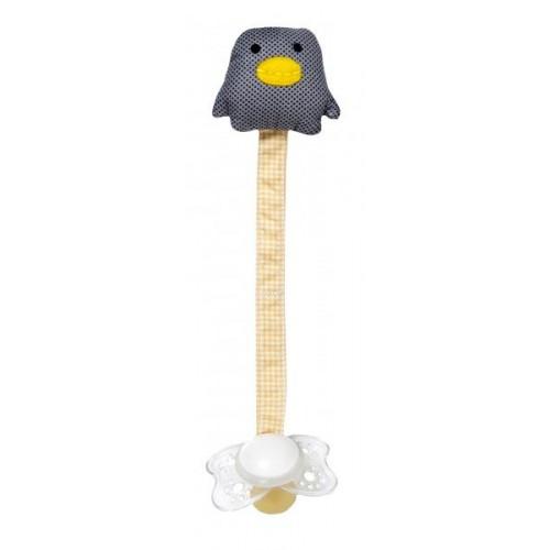 Schnullerhalter Pinguin aus Baumwolle & nickelfreier Clip | Franck & Fischer