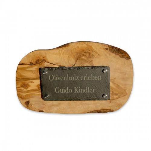 Tür- und Namensschild aus Olivenholz & Schiefer mit Gravur | D.O.M.