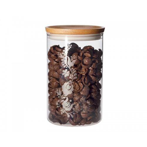 Jena Glas Vorratsdose mit Holzdeckel + Dekor 1,2 l
