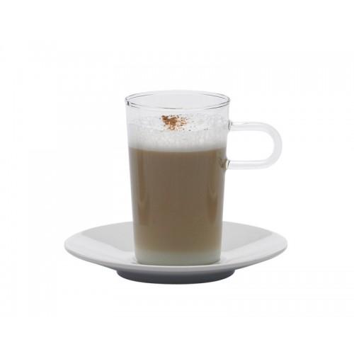 Kaffeeglas mit Porzellan-Unterteller COSTA II