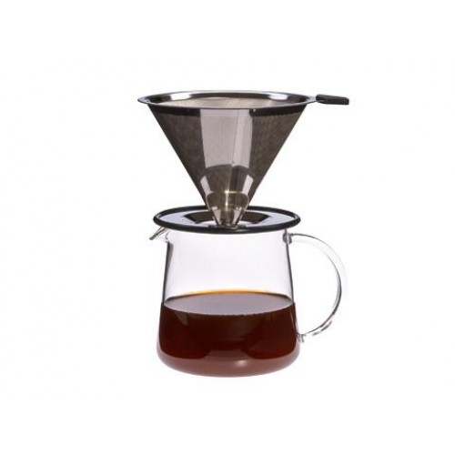 Kaffeebereiter POUR OVER m. Edelstahlfilter | Trendglas