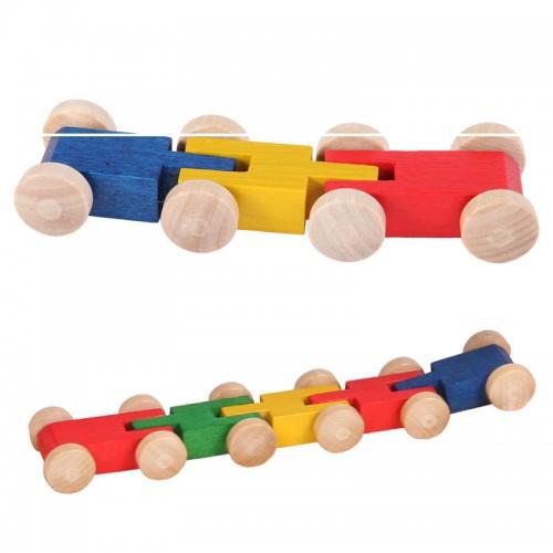Tausendfüssler aus Holz für Rennbahnen