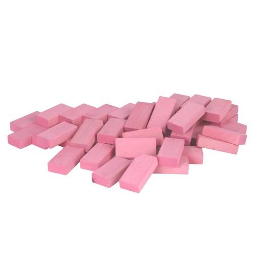 Fröbel-Bausteine aus Buchenholz, Pastellrosa