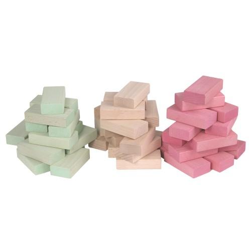 Fröbel-Bausteine aus Buchenholz, Pastellrosa + Pastellgrün + Natur