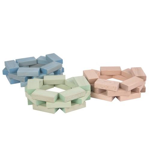 Fröbel-Bausteine aus Buchenholz, Pastellblau + Pastellgrün + Natur