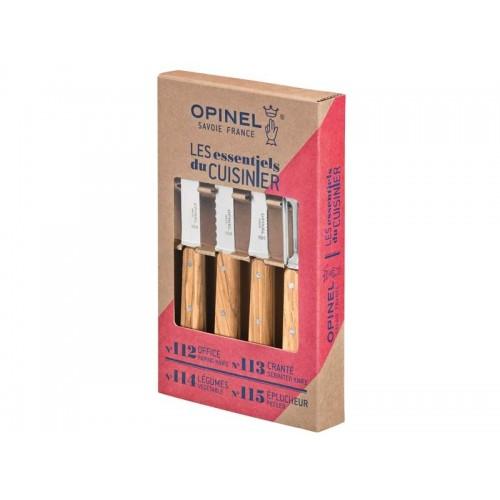 Opinel Küchenmesser Set 4-teilig Les Essentiels mit Olivenholzgriffen