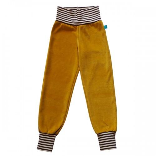 Gelbe Bio Kinder Nickihose mit Ringelbündchen | bingabonga