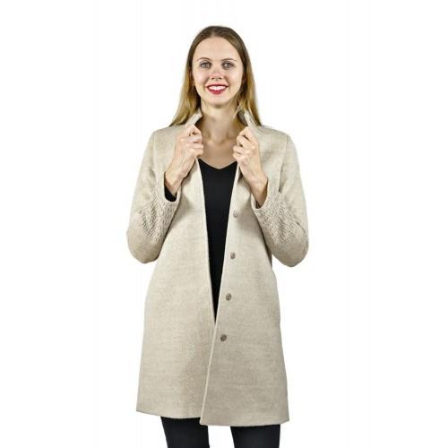 Luxury Alpaka Kurzmantel Jenny, Uni mit dezentem Muster | AlpacaOne