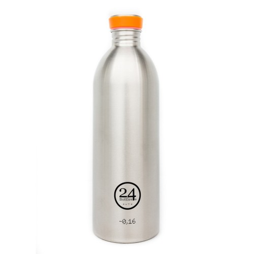 Edelstahl Trinkflasche 1L steel von 24bottles