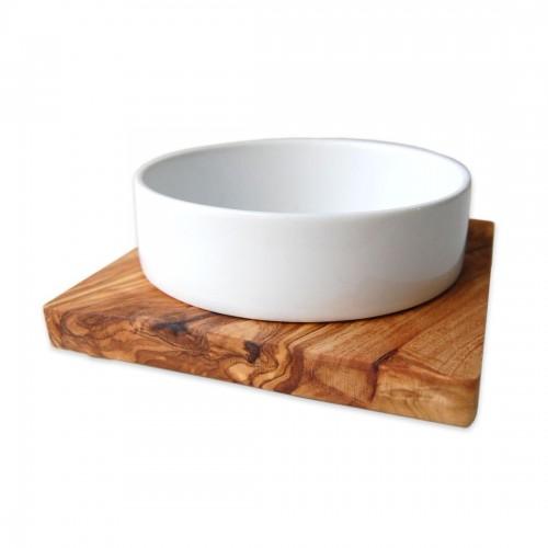 DANDY Keramik Futternapf 0.4 l in Olivenholz-Halterung