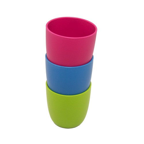 ajaa! Becher für Kinder 3er Set Blau, Lime & Pink