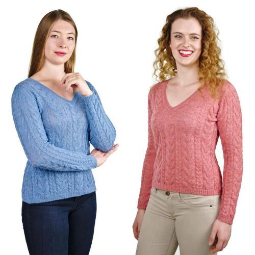 V-Ausschnitt Damen Pullover Mia 100% Baby Alpaka | AlpacaOne